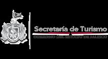 Logotipo del estado de Jalisco junto con la leyenda de la Secretaría de Turismo.